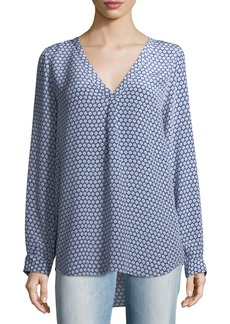 Joie Daryn Dot-Print Long-Sleeve Silk Blouse