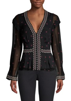 Joie Dashlee Silk Sheer Overlay Blouse