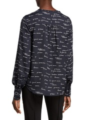 Joie Dipak Printed V-Neck Blouson-Sleeve Top