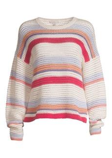 Joie Diza Striped Cotton Long-Sleeve Sweater
