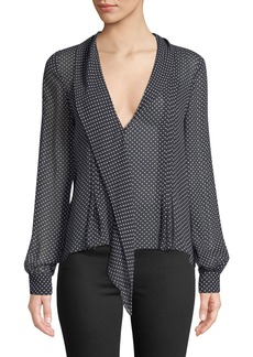 Joie Dowa Long-Sleeve Polka-Dot Silk Top