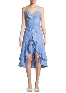 Joie Eberta Striped Cotton High-Low Ruffle Dress