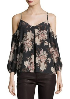 Joie Eclipse Floral-Print Cold-Shoulder Flowy Blouse