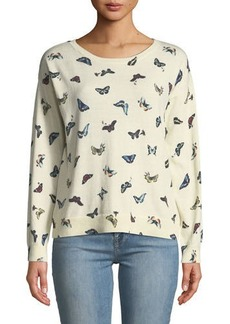 Joie Eloisa Butterfly-Print Pullover Sweater