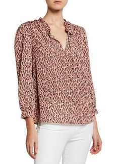 Joie Evangeline Long-Sleeve Boxy-Fit Blouse