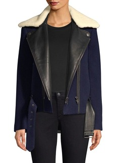 Joie Fayana Mixed Media Faux Fur Collar Moto Jacket