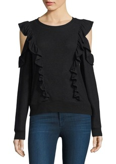 Joie Fealyn Cold-Shoulder Ruffled Sweater