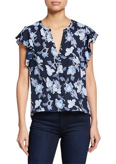 Joie Floral-Print Peplum Top with Butterfly Sleeves