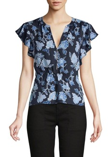 Joie Floral-Print Ruffle-Sleeve Top