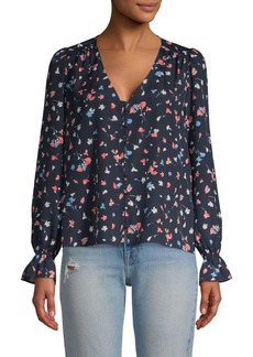 Joie Floral-Print V-Neck Top