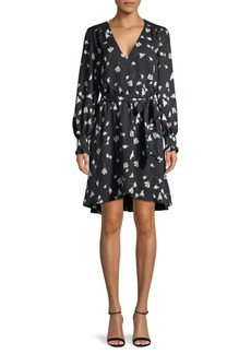 Joie Flower-Print Belted Wrap Dress