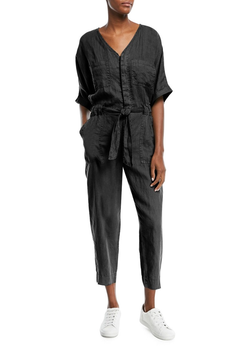 Joie Frodina Elbow-Sleeve Straight-Leg Jumpsuit
