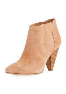 Joie Gabija Stretch-Suede Cone-Heel Ankle Bootie