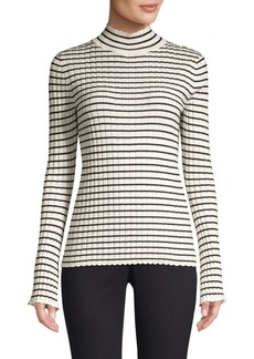 Joie Gestina Striped Rib-Knit Turtleneck