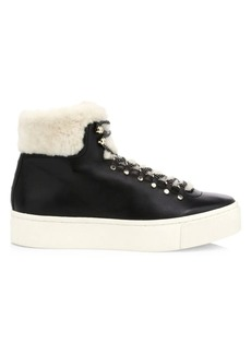 Joie Handan High-Top Shearling-Lined Leather Platform Sneakers