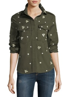 Joie Hayfa Button-Front Long-Sleeve Shirt with Beaded Trim
