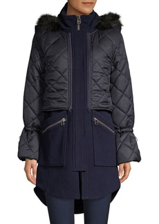 Joie Hetal Faux Fur-Trim Quilted Wool Coat