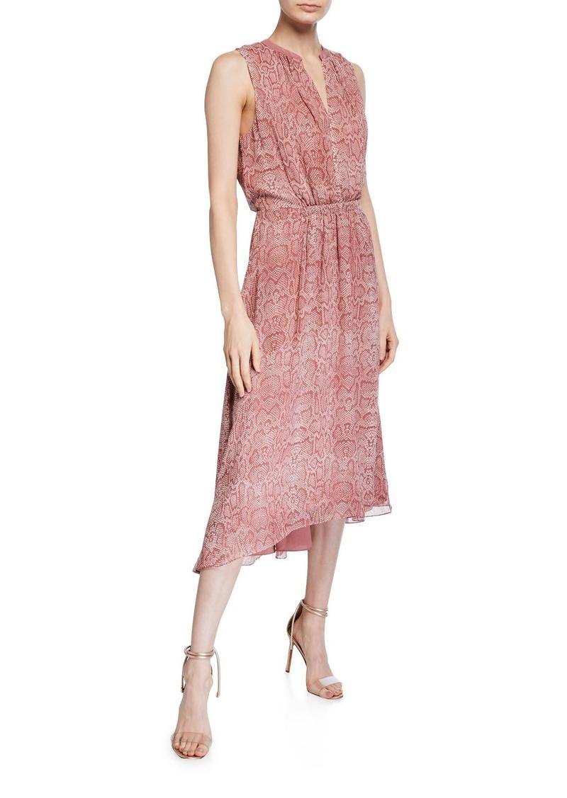 Joie Hilarie Sleeveless Snake-Print Midi Dress