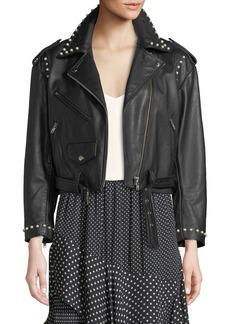 Joie Humla Zip-Front Pearlescent-Stud Moto Lamb Leather Jacket