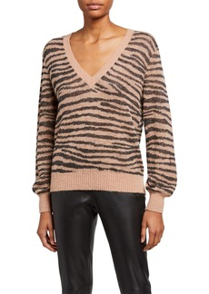 Joie Inira Tiger Stripe V-Neck Sweater