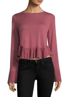 Joie Iona Bell-Sleeve Ruffle-Hem Sweater
