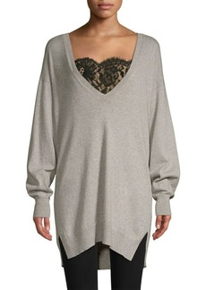 Joie Irita Lace Trim Longline Sweater