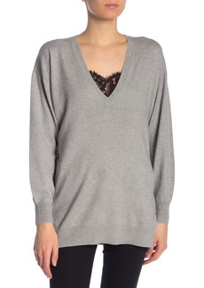 Joie Irita V-Neck Tunic Sweater with Lace Cami