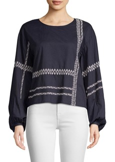 Joie Isandro Embellished Cotton Blouse