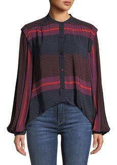 Joie Ishana Draped Button-Down Striped Top
