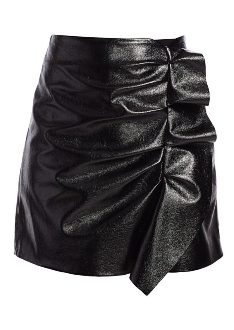 Joie Jain Faux-Leather Ruffled Mini Skirt