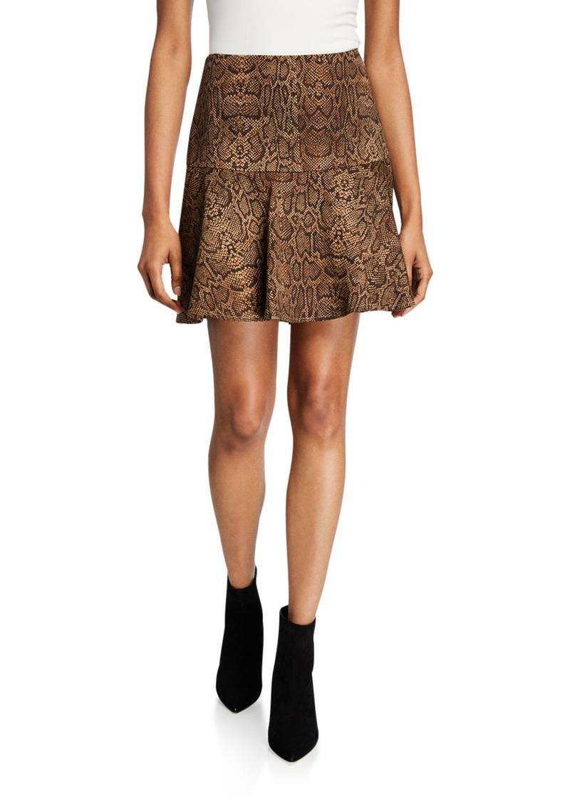 Joie Jamey Snake-Print Mini Skirt