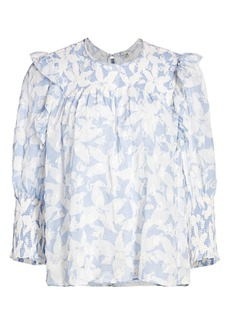 Joie Jamila Eventide Floral Textured Blouse