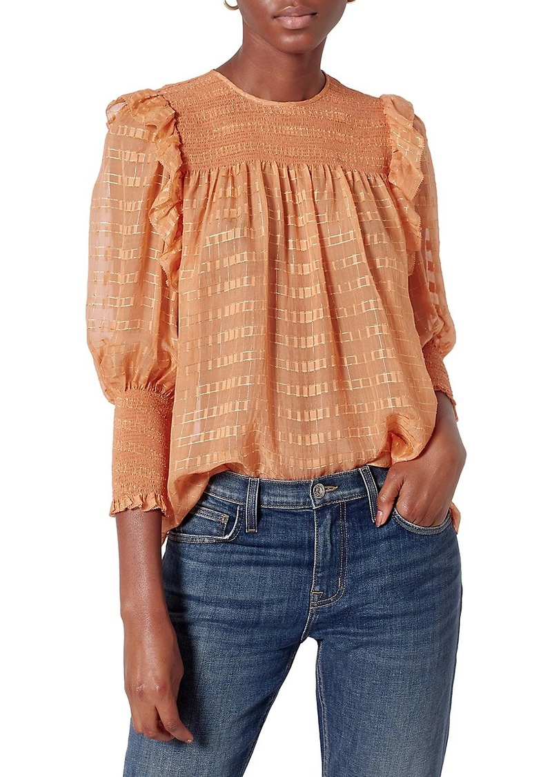 Joie Jamila Lurex Smocked Panel Top