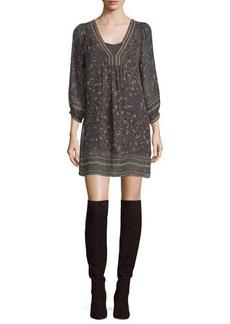Joie Abba Floral-Print 3/4-Sleeve Shift Dress