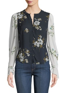 Joie Abboid Floral Silk Long-Sleeve Top