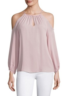 Joie Abdel Silk Cold-Shoulder Blouse