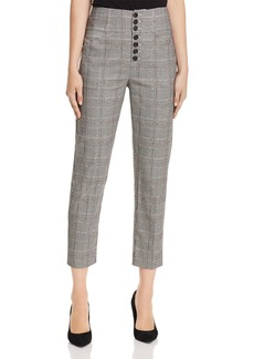 Joie Abony Glen Plaid Cropped Straight-Leg Trousers