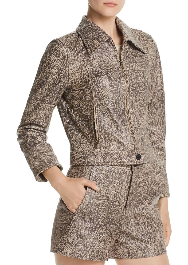 Joie Abraham Snakeskin-Print Leather Jacket
