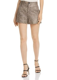 Joie Abreal Snakeskin-Print Leather Shorts
