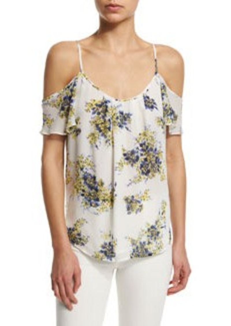Joie Adorlee B Cold-Shoulder Floral-Print Silk Top