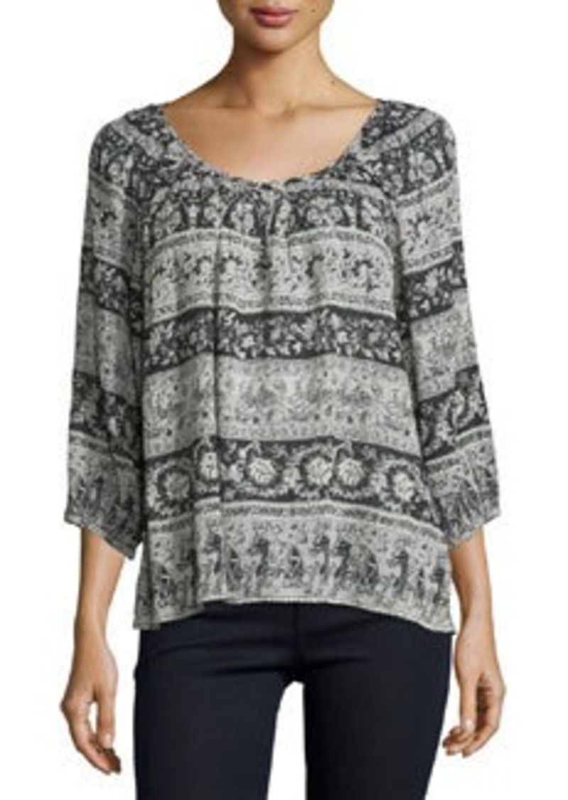 Joie Nancy E Border-Print Crinkled Top