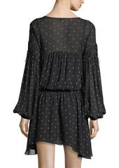 Joie Academia Split-Neck Printed Silk Dress