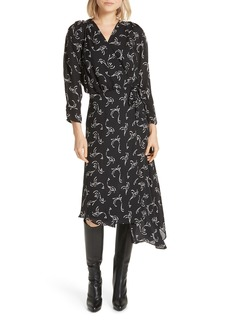 Joie Acantha Asymmetrical Wrap Silk Dress