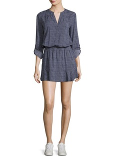 Joie Acey Button-Front Long-Sleeve Printed Dress