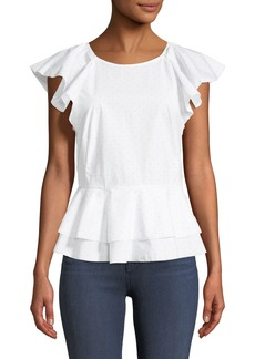 Joie Achava Ruffled Peplum Dotted Cotton Top