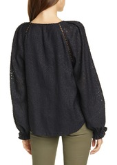 Joie Adison B Metallic Jacquard Long Sleeve Blouse