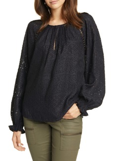 Joie Adison B Metallic Jacquard Long Sleeve Blouse