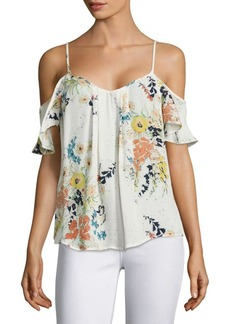 Joie Adorlee Floral-Printed Silk Cold Shoulder Blouse
