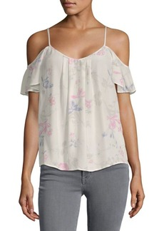 Joie Adorlee Silk Floral Cold-Shoulder Top