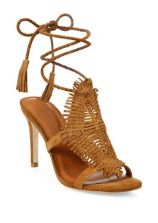Joie Ady Woven Suede Ankle-Wrap Sandals
